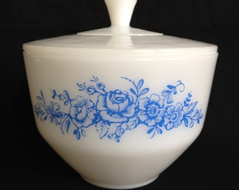 Vintage Federal Glass Bowl with Lid in Blue Rose Pattern 1 1/2 Quart