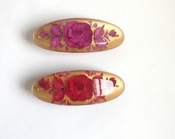 Hand made resin rose engraved hair clip barrette