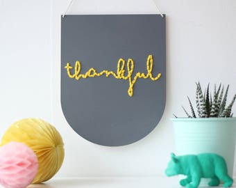 Thankful DIY Embroidery Kit Laser Cut Wooden Banner