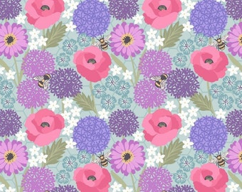 Bee Kind Allium and Poppies on Blue Floral Honey Bees Flowers Cotton Fabric by Lewis and Irene