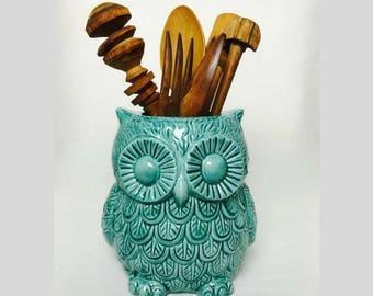 Teal Large utensil crock holder - Flower Vase - Utensil Crock - owl planter - Kitchen organization - Ceramic utensil holder - Wedding gift