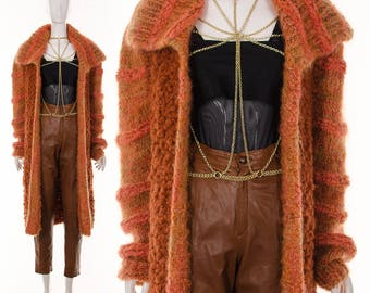 70's RARE Orange Cardigan Duster Coat Long Duster Chunky Knit Sweater Jumper Oversize Angora Sweater One Size