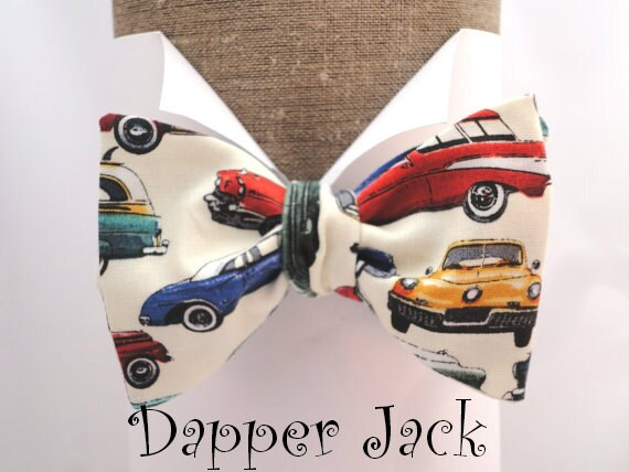Men's Bow Ties. Bow Ties For Men. Classic car print self tie bow tie in 100% cotton,  one size with adjustable neck band.