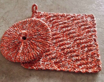Cotton,Hand Knit Dish Cloth Scrubbie, Plus a Hand Knit & Designed by me Dish Pad Scrubbie   *I Support Donald Trump FOR PRESIDENT!!!
