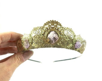 Matilda Tiara with choice of Raw Amethyst, Aventurine, or Citrine - by Loschy Designs