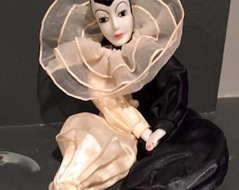 Vintage Harlequin Porcelain Doll.