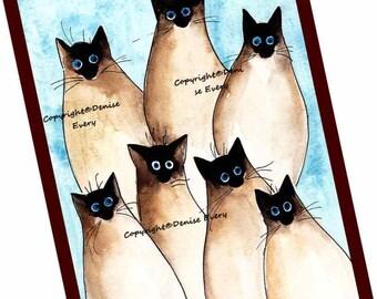 Seven Silly Siamese Kitties Siamese Cat Art Art Print Siamese Cat Lover ACEO Cat Siamese Cat Gift Siamese Cat Lover Siamese Cat ACEO Print