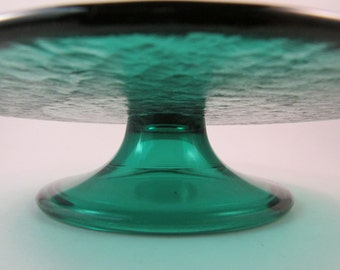 Vintage Italian Glass Pedestal Cake Plate Green Glass Plate Made in Italy