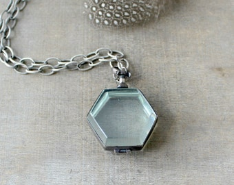 Glass Locket Necklace, Glass Photo Locket, Long Chain Locket, Push Present, Sterling Silver Locket, Unique Locket, Picture Locket, Push Gift