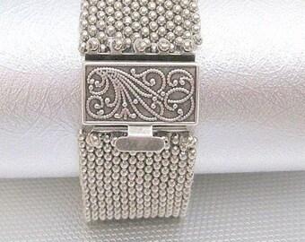silver cuff bracelet, beaded bracelet, seed bead bracelet, silver bracelet , beaded cuff, boho bracelet, bohemian jewelry, gift for women