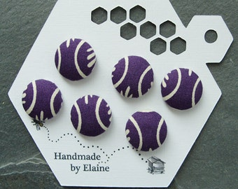 Fabric Covered Buttons - 6 x 18mm buttons, handmade button, purple buttons, purple white buttons, abstract buttons, violet buttons, 0784
