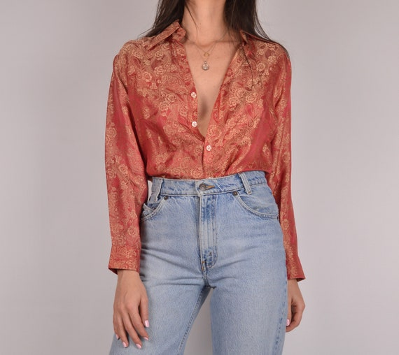 Vintage Red Embossed Silk Shirt by Etsy
