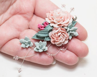 Dusty Mint Succulent blush pink peonies necklace.  Succulent wedding necklace. Clay flower jewelry. Bridal flower necklace pink bridesmaid