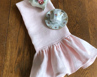 Blush Pink Linen Towel Light Pink Ruffled Linen Towels Tea Towels Kitchen Towels More Colors Available Sold Separately or as Pair Handmade