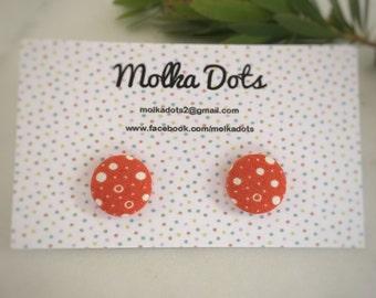Orange Earrings. White Dot Earrings. Polka Dot Pattern. Handmade Earrings. Fabric Covered Button Earrings. Stud Earrings. Clip On Earrings.