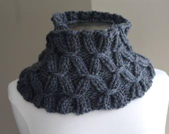 Charcoal Gray Washable Merino Wool Infinity Scarf Chunky Knit Merino, Cowl Soft Scarf, Warm Winter Scarf, Hand Knit Merino Scarf, Luxury