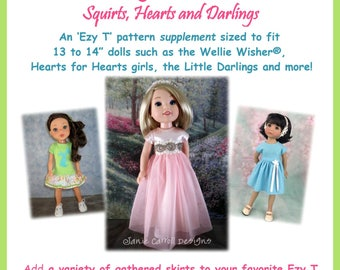 """Flirting with Skirts Ezy T supplement  for 13 to 14 1/2""""  dolls such as the Wellie Wisher, Hearts for Hearts doll and the Little Darlings"""