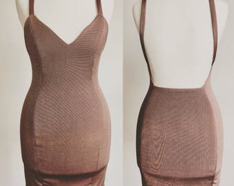Rose gold Backless mini dress