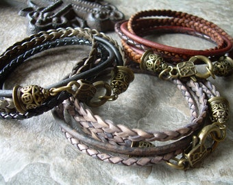Men's Leather Bracelets, Womens Leather Bracelet, Mens Bracelet, Leather Wrap Bracelets, Womens Bracelet, Bronze, Leather , Leather Gift