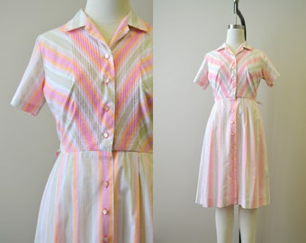 1960s Pink Striped Day Dress
