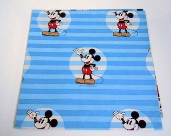 Vintage Children's Birthday Wrapping Paper Mickey Mouse Gift Wrap Blue Walt Disney