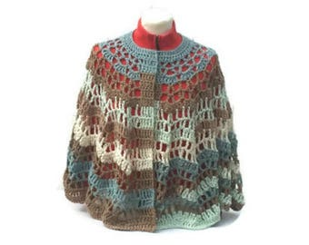 Mint Chocolate Short Cape Poncho Shawl Wrap Vintage Style Retro Fashion Pattern Digital PDF File Only Is Not a Finished Product
