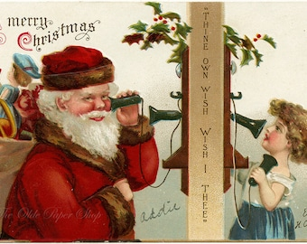 Vintage Postcard Ellen Clapsaddle Artist Signed Girl Talking to Santa on Phone Merry Christmas