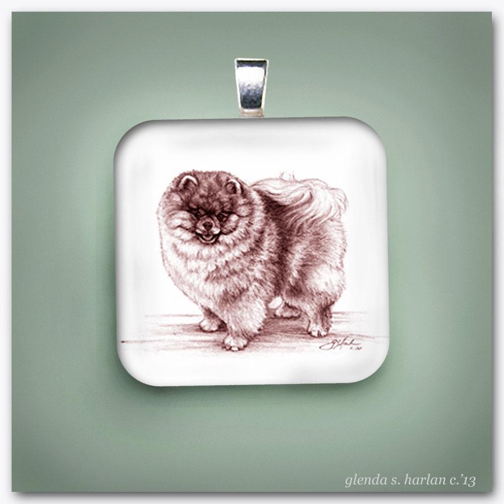 Pomeranian Dog Fine Art Glass Pendant