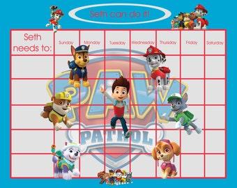 Puppy Patrol Personalized Children's Incentive/Reward chart Printable