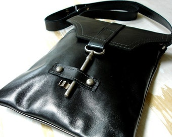 Black Leather Steampunk Messenger with Antique Skeleton Key - Flat  Style - MADE TO ORDER