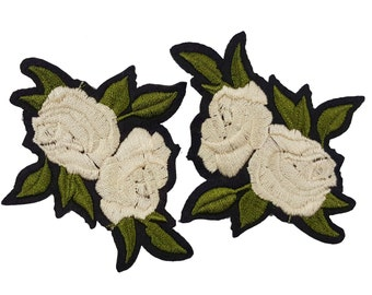 2 Iron On White Embroidered Flowers Roses Patches Appliques
