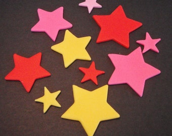 Fondant Stars can be used for Cupcake Toppers or Cake Decorations - Pick your color combination for Kid or Adult Birthdays and Parties