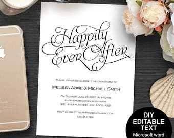 Engagement party invites, printable engagement invitation, we're engaged, happily ever after, engagement invites, DIY, simple, template.