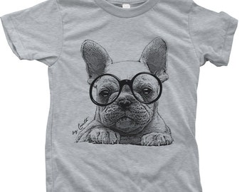 French Bulldog Kids Tshirt  Custom Hand Screen Printed American Apparel Crew Neck