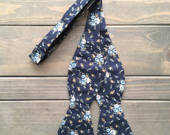 Blue Floral Bow Tie - Self Tie Bow Tie