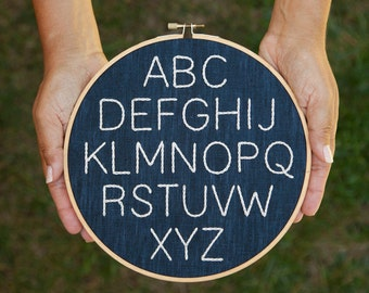 Minimalist Embroidered Nursery Alphabet- PDF Instant Download