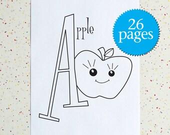 Alphabet Coloring Book, Colouring Pages, Alphabet Kitchen, Instant Download, Downloadable pdf