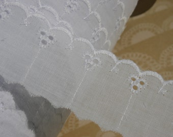"""White Eyelet Lace - Broderie Anglaise - Cotton Sewing Trim - 1 1/2"""" Wide"""