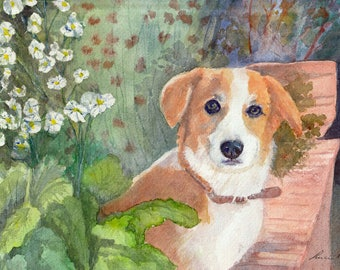 dog in a garden - watercolor art print mounted on wood panel - ready to hang