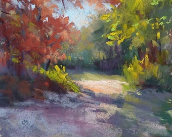 Autumn Path Fall Foiiage  8x10  Original Pastel Painting Karen Margulis