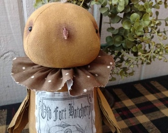 Gidget, our springtime chick with feedsack logo image