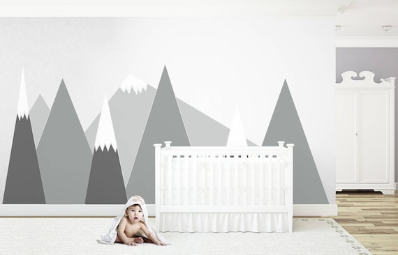 Mountains Wall Decal Gray MOUNTAIN Triangle Headboard For kids Washable Customized Self Adhesive Sticker Removable Nursery #mountains028