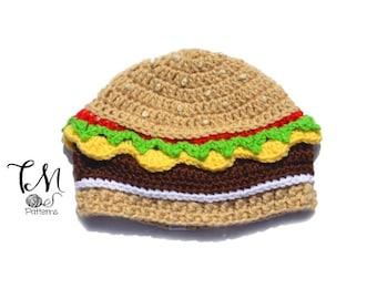 CROCHET PATTERN Cheeseburger Beanie, Infant & Kids Crochet Pattern, Food Hat Pattern, Crochet Kids Pattern, Burger Hat, Cheeseburger Hat