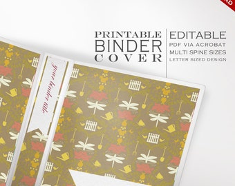 Binder Cover - Printable Editable Garden Theme Instant Download - Multiple Spine Sizes - Garden Journal Organization Classroom Homeschool