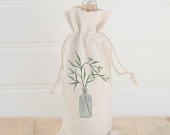 Watercolor Wine Bag - Eucalyptus Vase, Spring Lifestyle Decor, Summer Greenery, Hostess Gift, Birthday Present, All Natural Organic