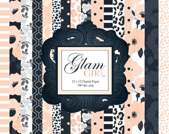 Glam Girl Digital paper, 12 x12in, floral, stripes, animal print