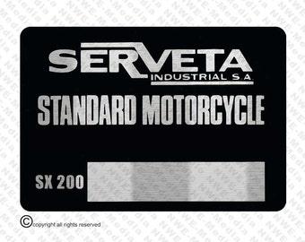 Lambretta Serveta SX 200 VIN Chassis Plate