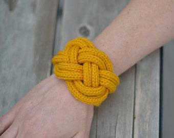 mustard knit bracelet