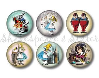 Alice in Wonderland - Fridge Magnets - Alice Magnets - 6 Magnets - 1.5 Inch Magnets - Kitchen Magnets