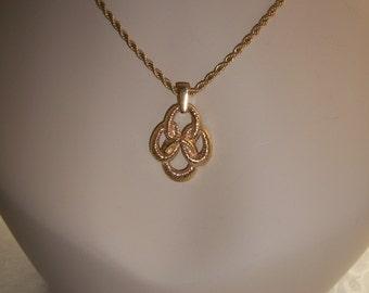 Trifari Rope Necklace & Pendant Yellow Gold Finish, by Nanas Vinage Shop on Etsy